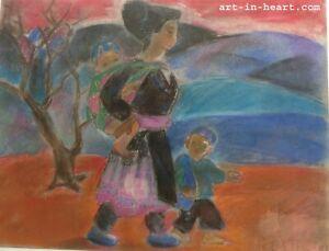 Beautiful memory Orig  painting  Thao Phuong Ta b1948 VUFA 1976