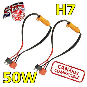 2 x H7 50w LED Error Cancelers 6ohm led Fog Lights - error Free - Canbus Safe