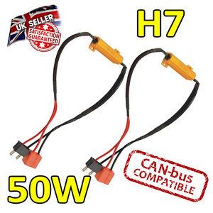 2 x H7 50w LED Error Cancelers 6ohm led Fog Lights - error Free - Canbus Safe