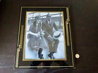 Art Deco Reverse Painted Glass Frame Mid Century Black Gold Photo Farmhouse.