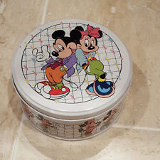 Mickey and Minnie Cookie Tin White Checkered Dancing Duo Kitchen Storage