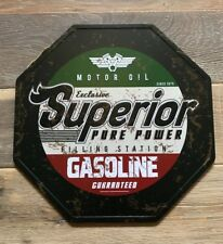 American Superior Gasoline Cool Vintage Style Octagonal Tin Sign 30x30cm Metal