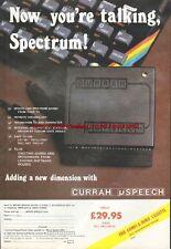 """Currah uSpeech ZX Spectrum """"Vintage Hardware"""" 1983 Magazine Advert #5106"""