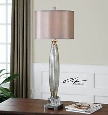 "Xxl 37"" Brushed Nickel Fluted Mercury Glass Table Buffet Lamp Crystal Detail"