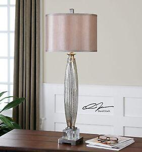 NEW BRUSHED NICKEL METAL MERCURY GLASS TABLE LAMP SILKEN SHADE CRYSTAL DETAIL