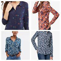 White Stuff Womens Blue Navy Grey Rust Button Jersey Shirt Blouse - 4 Colours