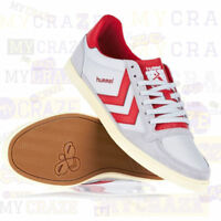 HUMMEL Mens White & Red Casual Sneakers Trainers Retro Skater Shoes