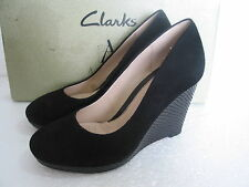 NEW CLARKS COMET TRAIL BLACK SOFT SUEDE WEDGE SHOES SIZE 6 & 8 D FIT