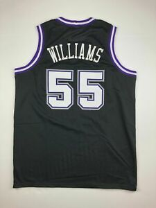 Jason Williams #55 Men's Basketball Sewn Throwback White Black Jersey S-XXL