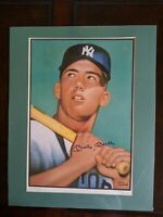 Mickey Mantle Signed Lithograph 16x20 1952 Topps Rookie Card Artwork #124 of 250