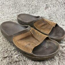 Crocs Slide  Mens  Sandals Brown Leather Uppers Size 11 No Strap