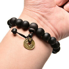 2x Wood Buddha Buddhist Prayer Beads Tibet Bracelet Mala Bangle Wrist Ornamen Mq