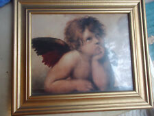 """Cherub Angel Picture Print Glass Front Gold Color Frame 7 3/4 x 9 3/4"""" Inner"""