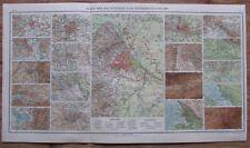 Pläne der Hauptstädte von Österreich-Ungarn - 51 x 29 cm Karte aus 1913