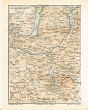Karte SALZKAMMERGUT 1889 Original-Graphik