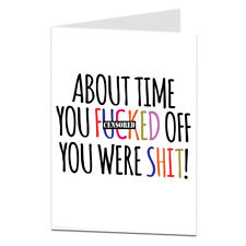Rude Funny Leaving Card New Job Goodbye Sorry To See You Leave