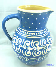 """Blue & White Polka Dots Floral 9"""" Heavy Pottery Water Pitcher Marked & Numbered"""