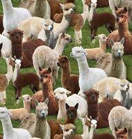 Elizabeth's Studio Farm Animals Alpacas on Grass 100% cotton fabric by the yard