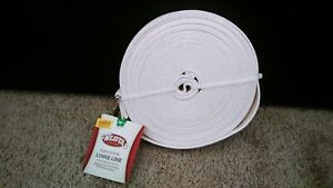 NEW WEAVER LEATHER FLAT COTTON LUNGE LINE WITH SNAP, WHITE, 1-Inch x 30-Feet