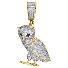"10K Yellow Gold Genuine Diamond Standing Owl Bird Pendant 1.20"" Charm 0.34 CT."