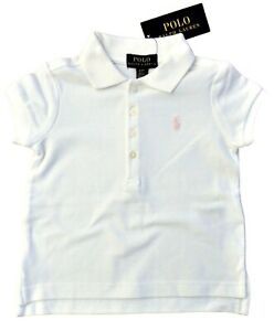Girls ss POLO Shirt TOP * RALPH LAUREN * 2Y 4Y 5Y white w/ pink pony