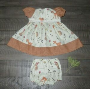 "Handmade Doll Clothes for 20"" - 22"" Baby Dolls - ""Outdoor Friends"" Dress Set"