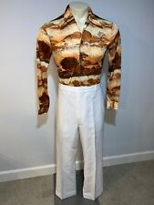 Mens 38 32 White Polyester Pants Vtg 70s Disco Leisure Suit Saturday Night Fever