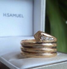 Attractive Vintage 18ct Yellow Gold & Diamond Snake Ring h/m1916 London - Size U
