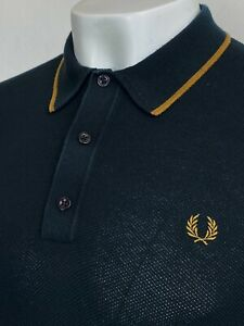 Fred Perry   Tipped Knitted Polo Shirt M (Black) Mod Scooter Terraces Ska 60's