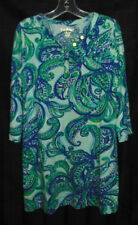 LILLY PULITZER Girls Green Blue Soft Print Stretch Dress XL 12 14 EXCELLENT