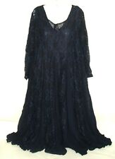 Vtg Starina Blue 70s Crinkle Lace Gored Boho Dress M Hippie Goth Gypsy Romantic