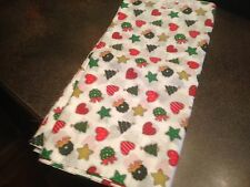 5 Yards Christmas Tree Wreath Heart Star Cotton Fabric New Vintage White/Red