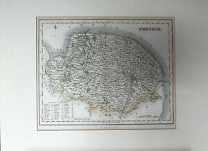 ANTIQUE MAP NORFOLK 1840's PUB ARCHIBALD FULLARTON & CO, GLASGOW Engraved Gray