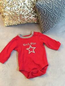 Baby One piece Body Suit rockstar red Christmas Holiday Gap 3-6 Months