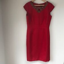 Tahari Size 8 Red Tweed Beaded Cutout Cayla Dress New with Tags