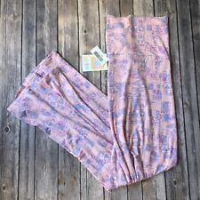 New Lularoe Maxi Skirt Long A Line 3X 3XL Pink Purple Pastel Geo Geometric Print