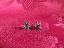 Pierced Silvertone Hemp Pot Plant Earring Pair Posts Made In U.S.A.
