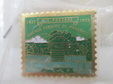 USPS POST OFFICE CHICAGO WORLDS FAIR STAMP REPLICA DESIGN LAPEL PIN 1¢ US