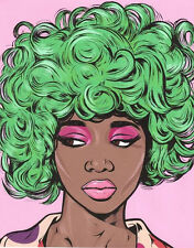 Green Pink Black Kawaii Candy Girl Pop Art Print Turddemon comic woman model