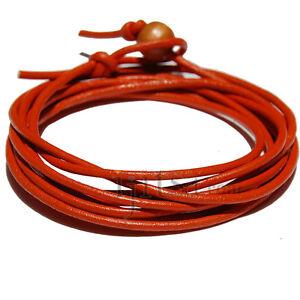 2mm orange leather adjustable surf wrap bracelet  **CUSTOM COLOR**