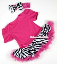 NewBorn Baby Hot Pink Dots Lace Chiffon Romper Jumpsuit Headband 2PCS Set NB-3Y