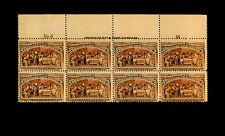 234 COLUMBIAN EXPO Columbus/Queen Isabella 5 cent MNH PLBK of 8 CV$4500 RARE