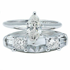 1.20 Carat Marquee Diamond Engagement Ring & Band Natural EGL Certified 14k Whit