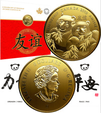 2019 Pandas Golden Gift of Friendship $8 Pure Silver Gold Plated Coin Canada