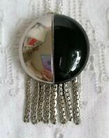 Vintage Art Deco Black Silver Modernist Buckle Glass Tassel Pendant Necklace