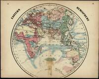 Eastern Hemisphere Mts. of Moon Africa Lake Torrens 1865 Colton miniature map