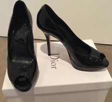 DIOR - 'Miss Dior' Classic Black Patent Peep Toe Heels *As NEW* Sz 39