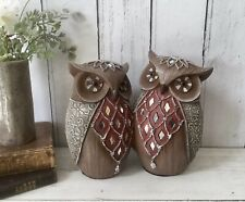 Twin Vintage OWL Ornament Figurine Home Decor Diamante Art Deco Sculpture Gift