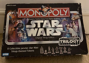Star wars Monopoly Orginal Trilogy Collection with 8 Collectible Tokens.