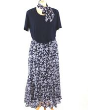 DAMART Two Piece 14 Floral Ditsy Outfit Navy Blue Midi Skirt Top Scarf Formal